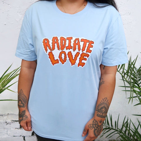 radiate love organic t-shirt - baby blue