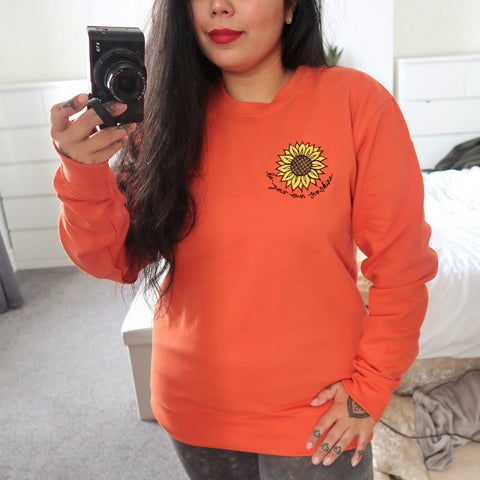 be your own sunshine embroidered sweatshirt - burnt orange