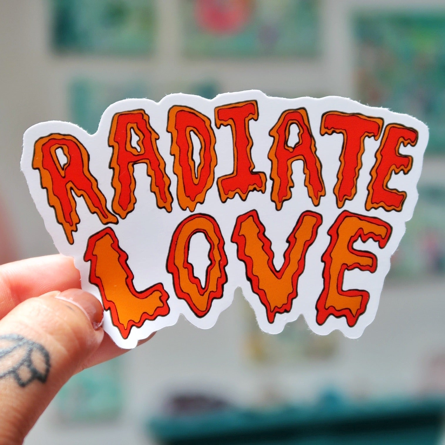 radiate love vinyl stickers