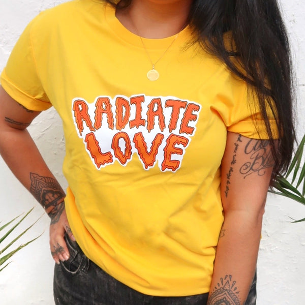 radiate love organic t-shirt - yellow