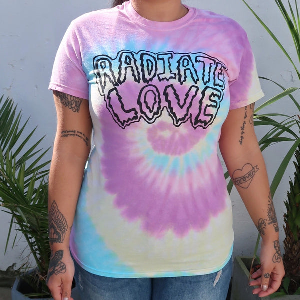 radiate love tie-dye t-shirt - pastel dream
