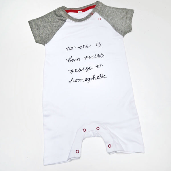 no-one is born racist... baby bodysuit