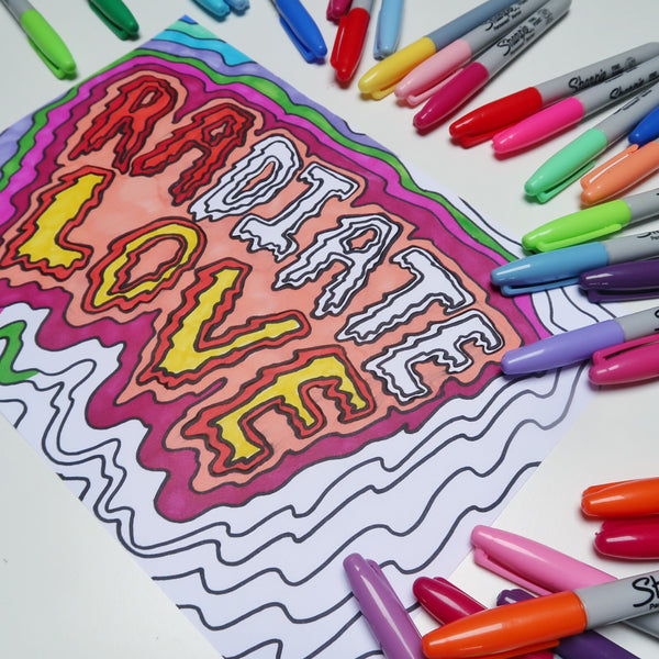 radiate love colouring-in sheet (print-at-home version)