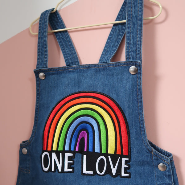 kids organic embroidered One Love dungarees