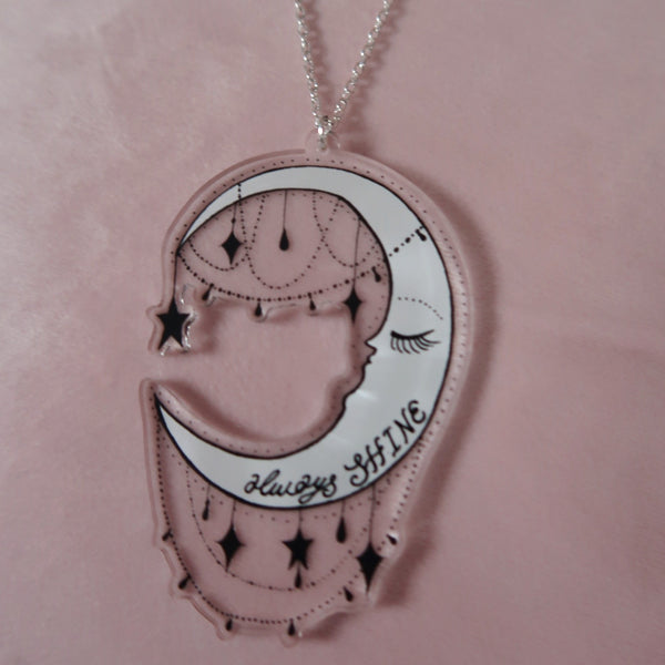 always shine moon necklace - silver chain