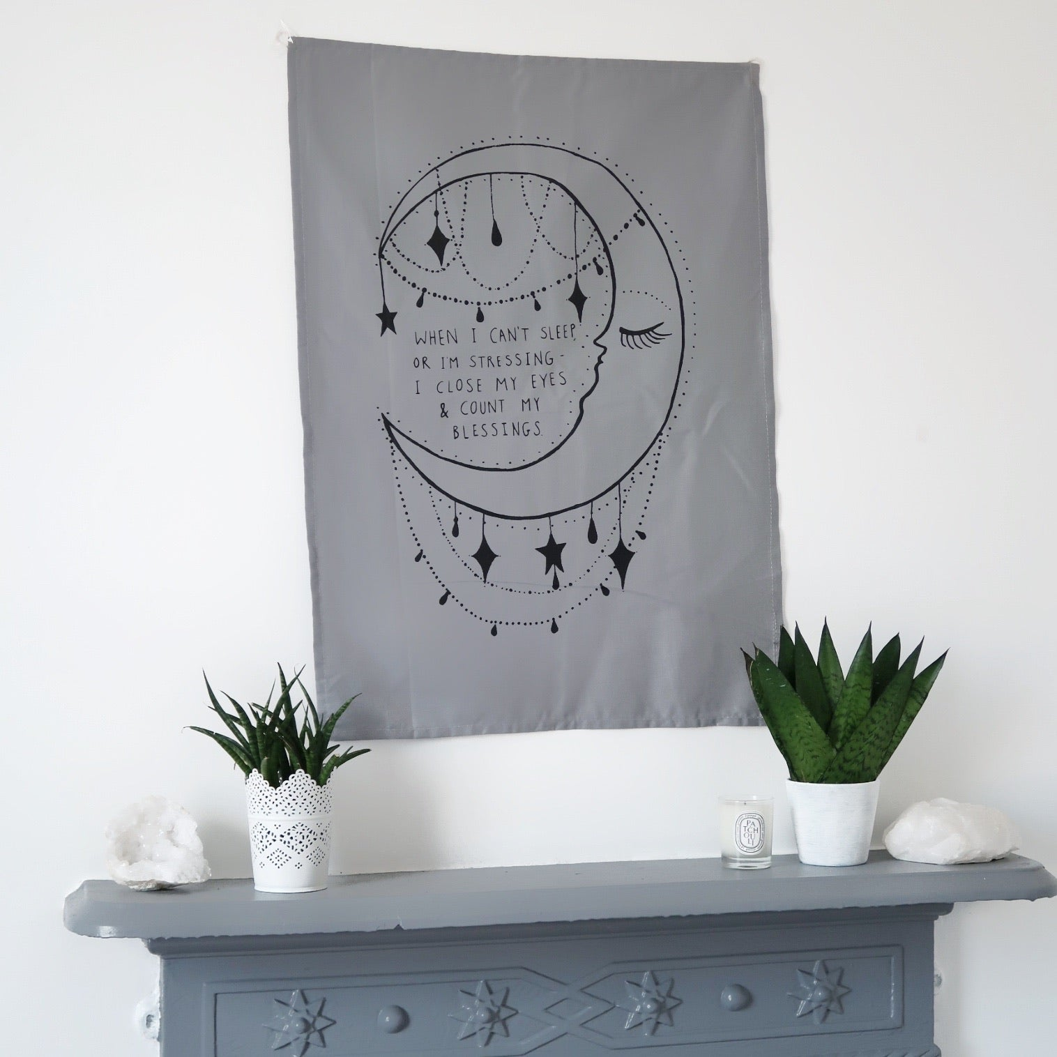 when i can't sleep.. moon wall hanging - grey