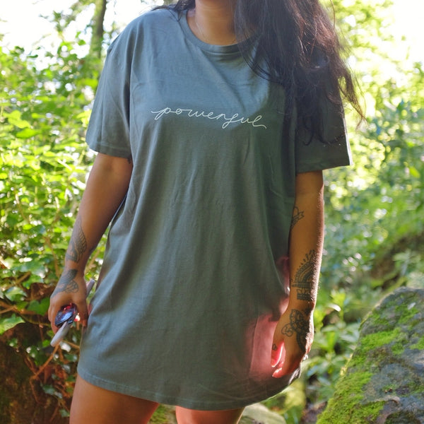 powerful unisex organic t-shirt - khaki green