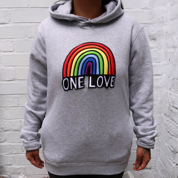one love embroidered grey organic hoodie