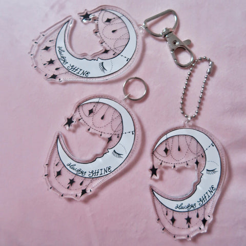 always shine moon keyrings