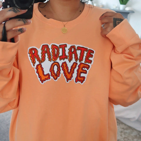 radiate love embroidered sweatshirt - peach