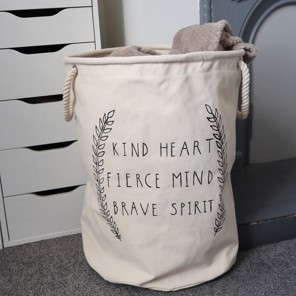 kind heart, fierce mind, brave spirit extra large basket