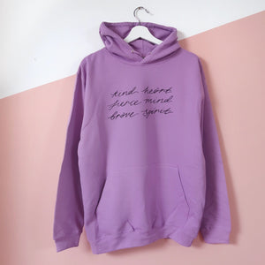 kind heart, fierce mind, brave spirit pullover hoodie - warm purple