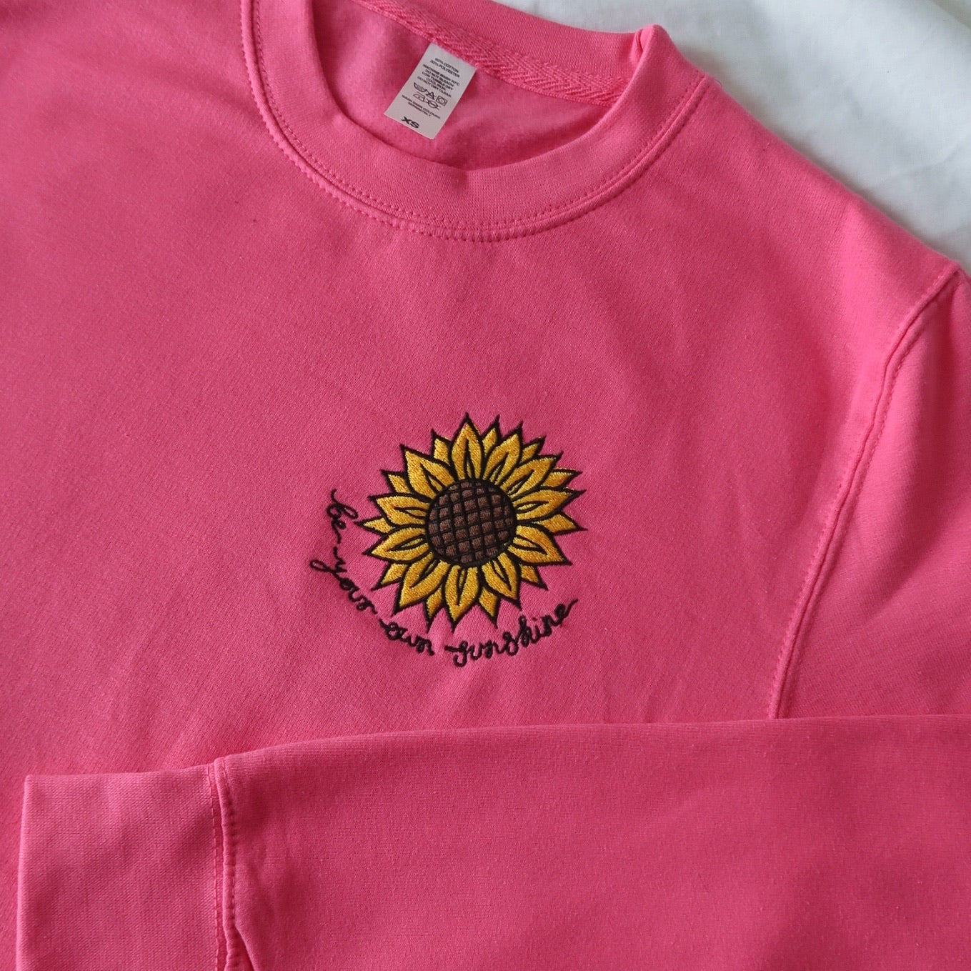 be your own sunshine embroidered sweatshirt - bright pink