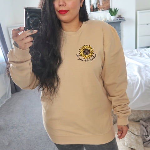 be your own sunshine embroidered sweatshirt - warm beige