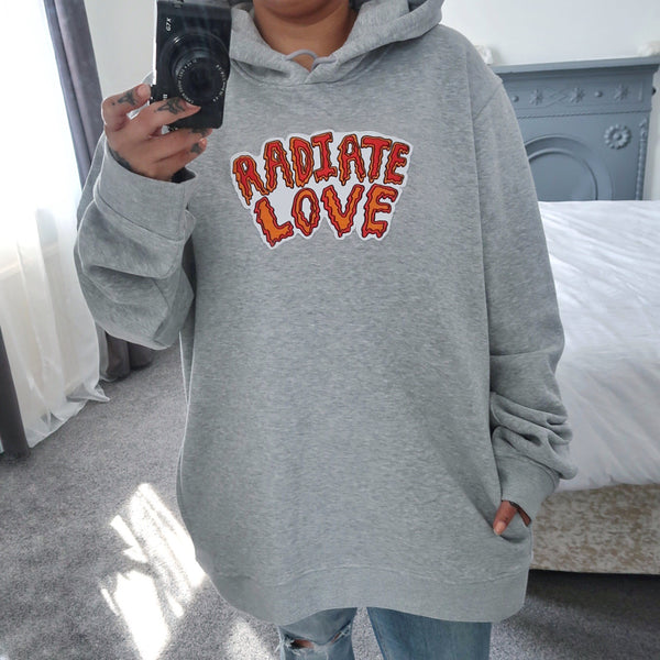 radiate love embroidered organic hoodie - light grey