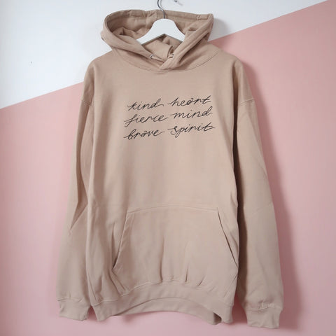 kind heart, fierce mind, brave spirit pullover hoodie - cool beige