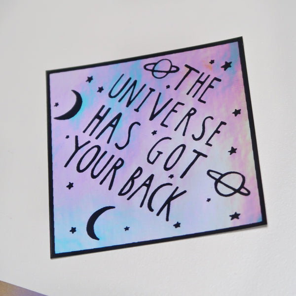being kind is cool / universe has got your back holographic stickers