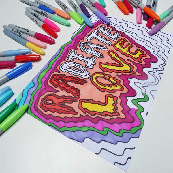 radiate love colour-in print