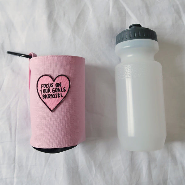 focus on your goals babygirl water bottle & holder - pink