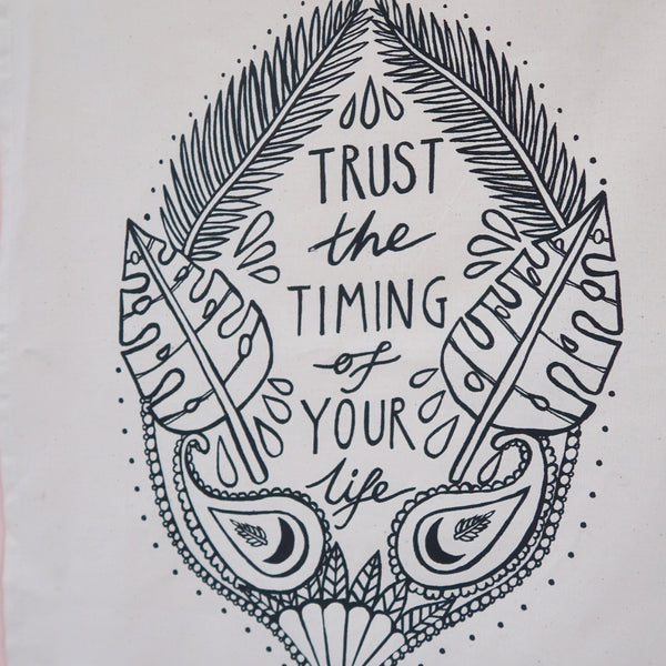 trust the timing of your life wall hanging - natural