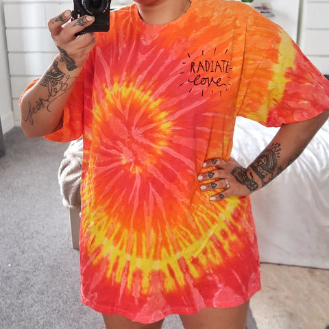 radiate love tie-dye t-shirt