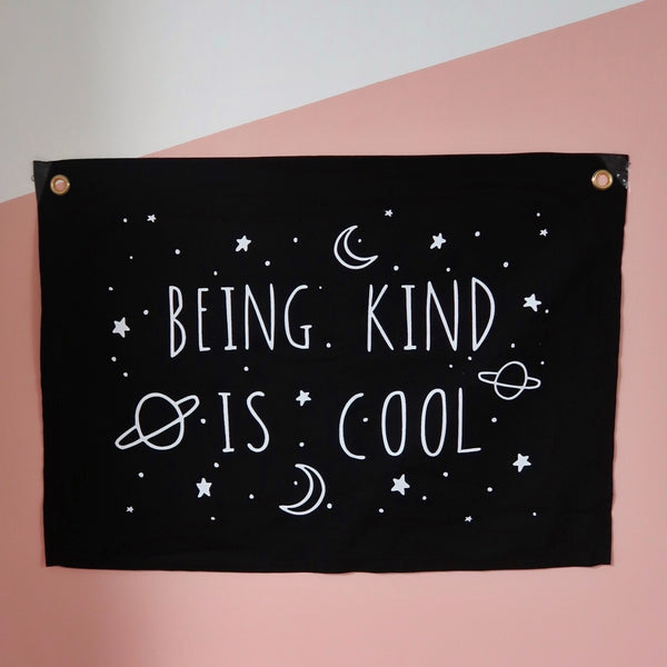 being kind is cool horizontal wall hanging - black