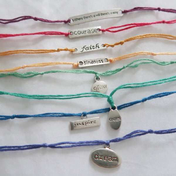 affirmation bracelets - thread style