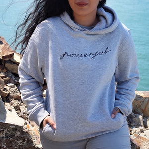 powerful unisex organic hoodie - light grey