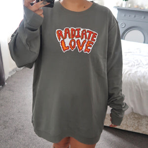 radiate love embroidered sweatshirt - cool khaki