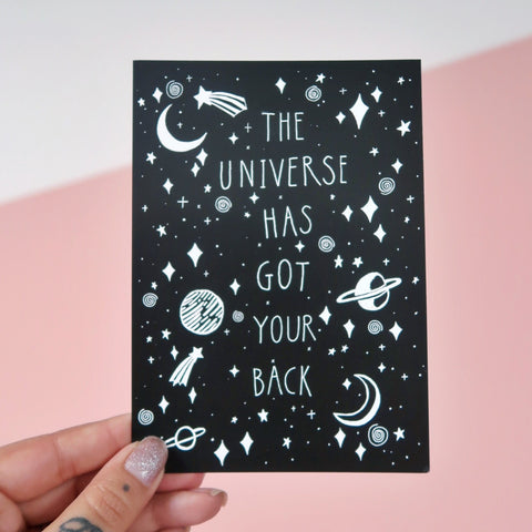 the universe has got your back mini print / postcard