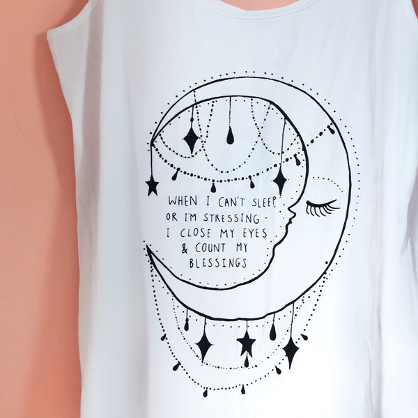 when I can't sleep.. moon organic vest top - white
