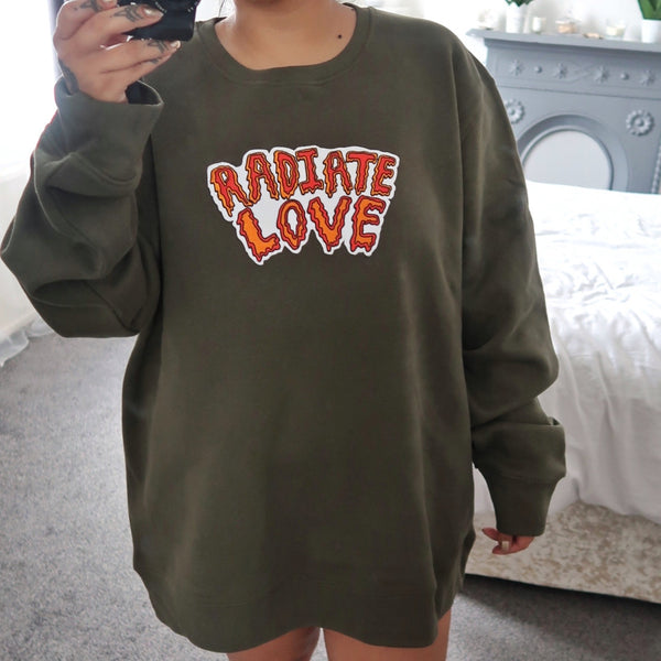 radiate love embroidered sweatshirt - khaki green
