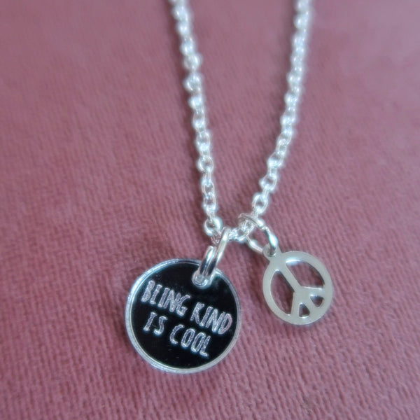 being kind is cool necklaces - silver
