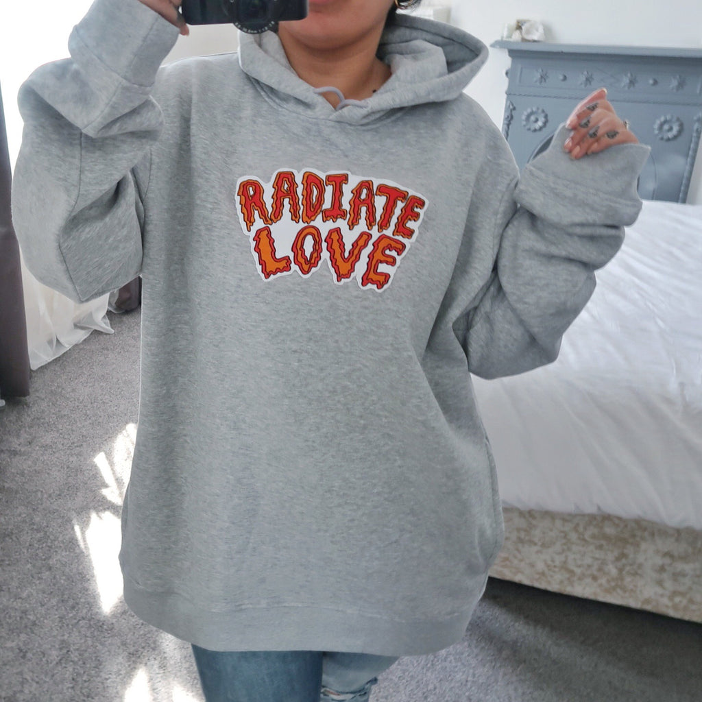 embroidered grey organic hoodie