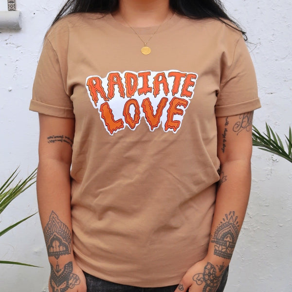 radiate love organic t-shirt - tan