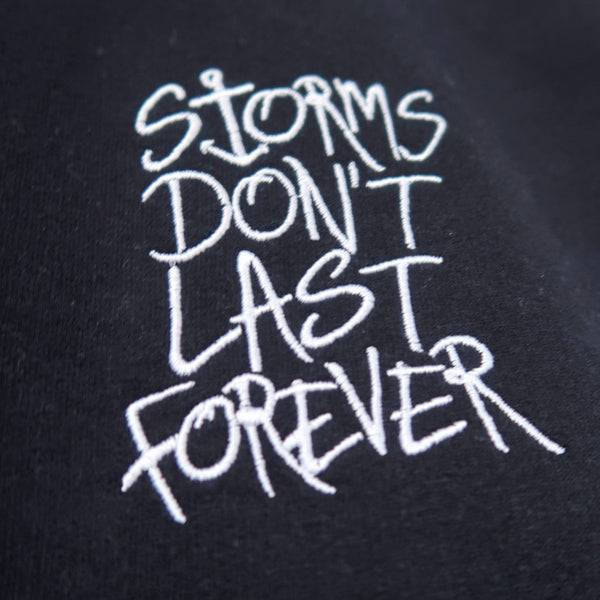 storms don't last forever embroidered sweatshirt - navy