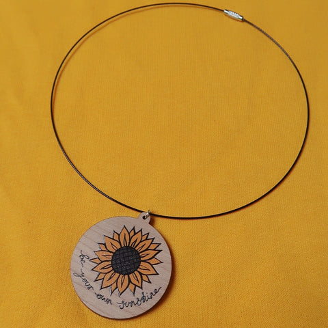 be your own sunshine necklace - black wire necklace