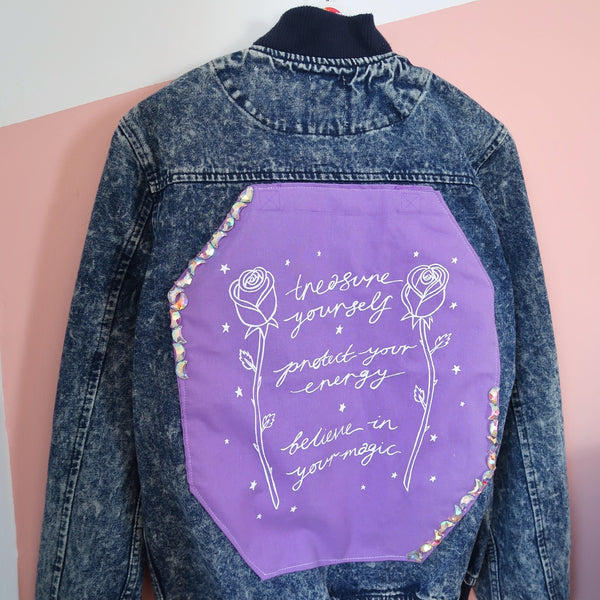 treasure, protect, believe denim bomber jacket