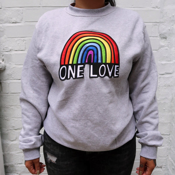 one love embroidered grey sweatshirt