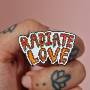radiate love enamel pin badge