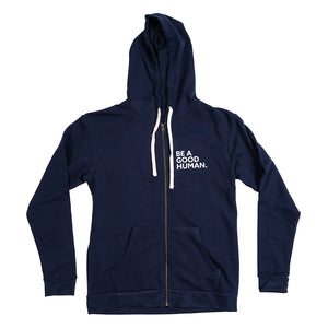 Open image in slideshow, SUPER COZY - BE A GOOD HUMAN - SLIM FIT UNISEX Hoodie