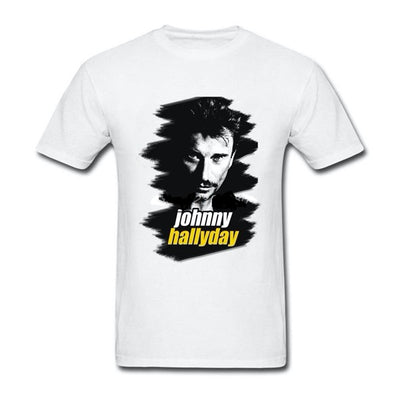 t-shirt collector Johnny Hallyday blanc