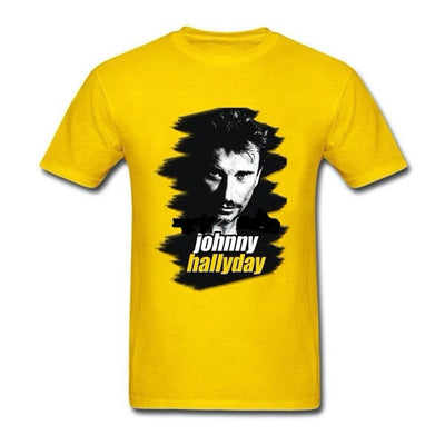 t-shirt collector Johnny Hallyday jaune