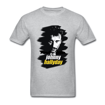 t-shirt collector Johnny Hallyday gris