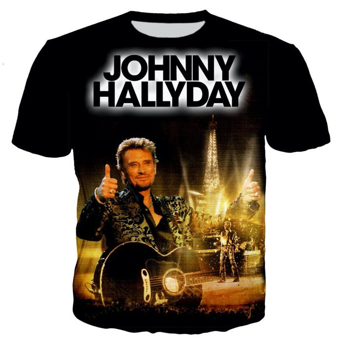 T-shirt noir Johnny Hallyday tour