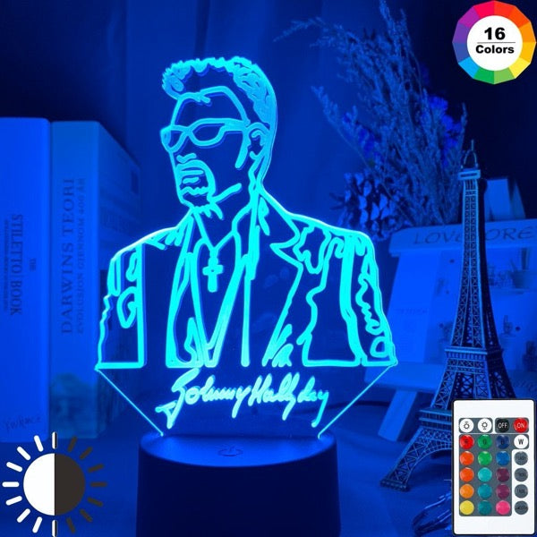 Lampe Led 3D Johnny Hallyday