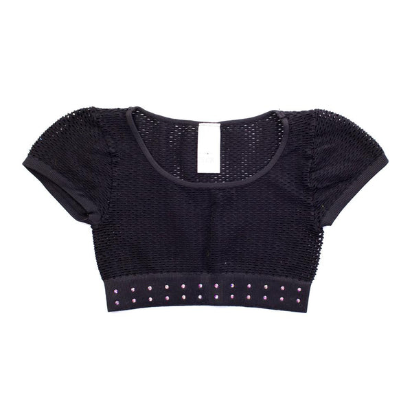 Mesh Top - Cropped Short Sleeved with Rhinestones