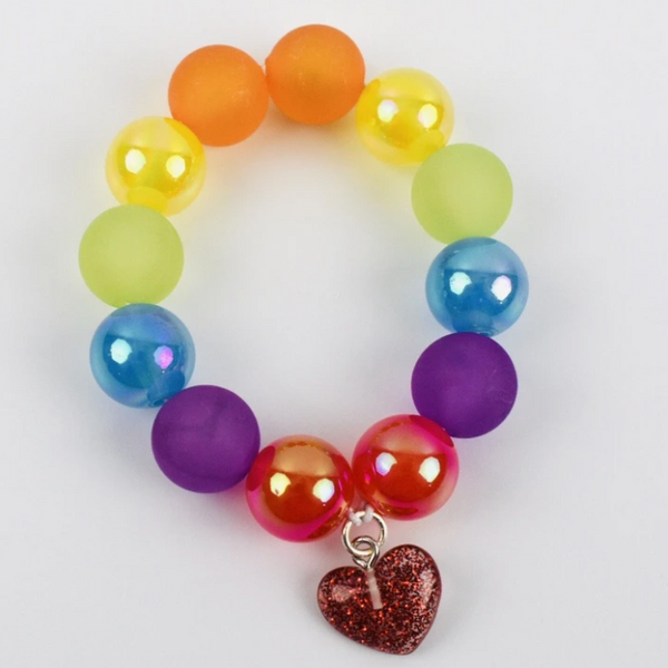 Beaded Bracelet - Rainbow Heart