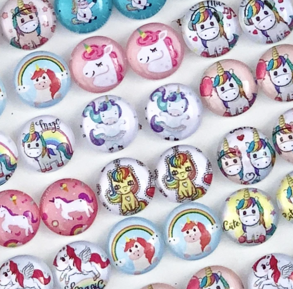 Earrings - Round Unicorn Studs