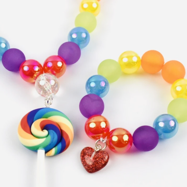 Beaded Necklace - Rainbow Lollipop
